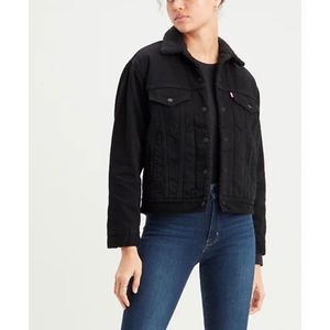Levi's Original Trucker Sherpa Solid Black Large Cotton Denim Jean Jacket